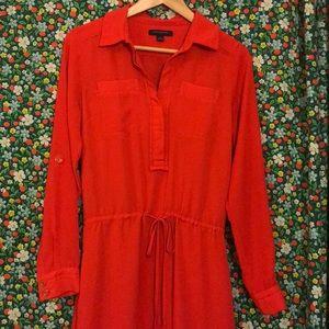 Banana Republic slip shirt dress red cinch waist